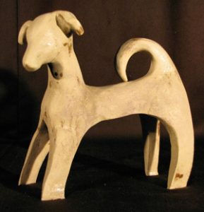 A Family Dog Ceramic Sculpture by Artist Susan Gorris
